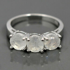 Round 6 MM Natural Rainbow Moonstone Gemstone 925 Sterling Silver Cluster Ring
