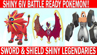 Pokemon Sword & Shield Shiny 6IV Solgaleo, Lunala, Melmetal Battle Ready!!
