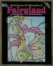 ADULT COLORING BOOK ~ FAIRYLAND STAINED GLASS ~ REMOVEABLE  PAGES 4 FRAMING