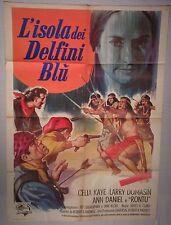 Manifesto L'ISOLA DEI DELFINI BLU 1964 RARISSIMO!!! CELIA CAYE, LARRY DOMASIN 2F