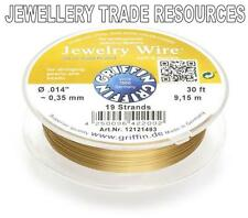 """GRIFFIN GOLD PLATED STEEL BEADING JEWELRY WIRE .014"""" / 0.35mm 30 FT. 19 STRAND"""