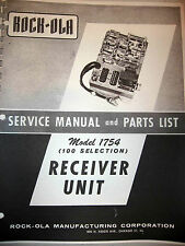 Rock-ola Model 1754 Receiver Unit Service & Parts Jukebox Manual