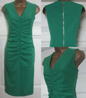 NEW Coast £89 Womens Forest Green Ruched Scuba Shift Dress Office Party 6-20