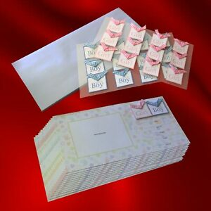 Newborn 'Girl Or Boy' ~ Birth Announcement Cards & Envelopes (12 each) ~ NEW
