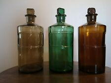 Vintage Laboratory Chemist Apothecary Science Bottles with Glass Stopper x3