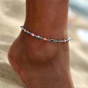 925 Sterling Silver Evil Eye Anklet Bracelet - Nazar - Beads - Adjustable