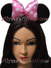 NEW 1 Minnie Mickey Mouse Ears Headband Black Puffy Pink Bow Birthday Party CUTE