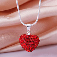 Small Love Red Heart Pendant Necklace Valentine's Day Charm Lady Woman Jewelry