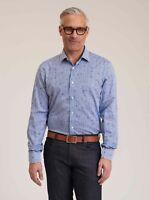 Robert Graham Glen L/S Checkered Skull Print Sport Shirt, Blue