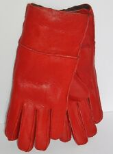Women's Genuine Sheepskin Red Warm Leather Shearling Fur Gloves M-L