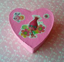 TROLLS Handmade Heart Shaped Paper Mache Trinket Box Pink Princess Poppy