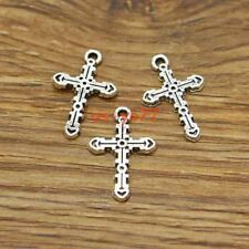 BULK 10 Cross pendants blue green antique silver tone C71
