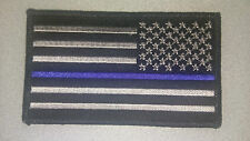 "Thin Blue Line USA Flag Patch velcro Patch New Police 3.5"" X 2"" Right side SWAT!"