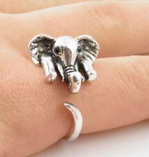 Animal Wrap Ring Silver Elephant Adjustable Size 8 Ring