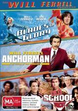 Will Ferrell 3-movies DVD Anchorman Blades of Glory Old School DVD NEW Region 4