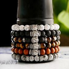 8MM Naturel Pierre De Lave Perles Hommes Femmes Reiki Bouddha Yoga Bracelets