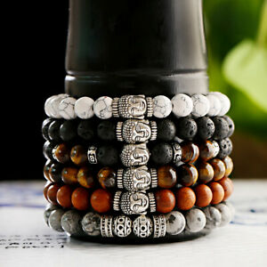 8MM Natural Stone Men's Balance Meditation Buddha Reiki Women Bracelets Jewelry