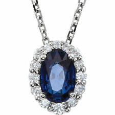 """Blue Sapphire & 1/6 ct. tw. Diamond 18"""" Necklace In 14K White Gold"""