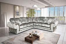 Beautiful Brand New Large Tango Corner Sofa In Silver Crushed Velvet