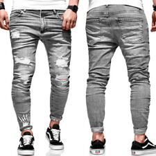 BEHYPE Jeans Herren Ripped Slim Fit Chino Hose Röhrenjeans Grau Destroyed NEU