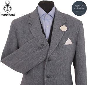 Harris Tweed Jacket Blazer 44L Herringbone Country Weave Hunting Hacking Blue