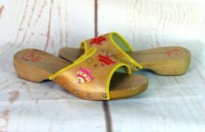 Gallucci Sandale Sandalette Pantolette Damen Sommer Schuhe Holz Gold Gr. 40