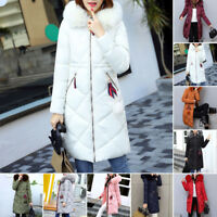 Winter long Down Cotton Women Parka Fur Collar Hooded Coat Quilted Jacket WARM