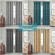 New Embossed Curtains Heavy Thick Thermal Insulated Blackout Eyelet Curtain Pair