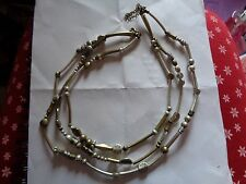 SILVER & GOLD TONE TRIPLE STRAND STATEMENT NECKLACE WITH HIDDEN HEARTS ROMANTIC