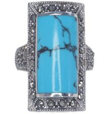 Synthetic Turquoise and Marcasite Gemstone Sterling Silver Ring size L
