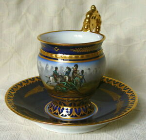 ANTIQUE HAND PAINTED NAPOLEONIC SEVRES CUP AND SAUCER BATTLE OF HANAU