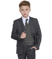 Boys Suits Boys Check Suits, Page Boy Wedding Prom Party Suit, Boys Grey Suit Tr
