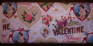 VALENTINES GREETINGS VINTAGE MET Cupid/Cherub Cotton Fabric  BTY