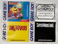 Super Mario Land Dr Monopoly Pacman Original Gameboy Instruction Manual Lot of 4