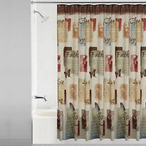 Solace Shower Curtain Polyester Hope Faith Love Joy Brown Tan Butterflies NEW