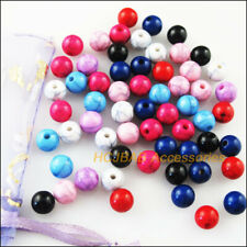 160Pcs Mixed Acrylic Turquoise Round Ball Spacer Beads Charms DIY 6mm