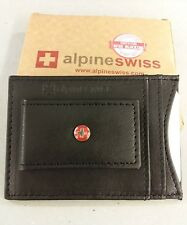 Leather New in Box Alpine Swiss RFID Blocking 4 Slot Black Wallet With Belt Clip