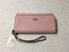 NWT Coach Double Accordion Zip Wallet in Smooth Leather Silver Petal Pink F52103