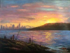 Original Landscape Oil Painting Fishing at sunset around Sydney Harbour