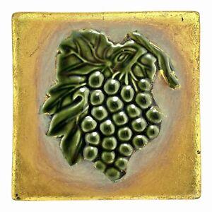 Trivet Tile - Ceramic Chalkware - Green Grapes Gold Leaf Square