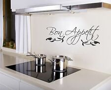 Bon Appetit Wall Decal removable kitchen sticker art decor quote mural food chef