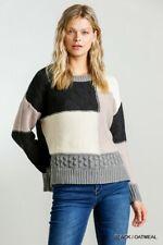 Umgee Black/Oatmeal Color Block Long Sleeve Boxy Knit Sweater