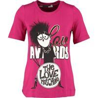 LOVE MOSCHINO Fuschia Goth Band Print T-Shirt / Top - sz UK 6 / IT 38 rrp £145