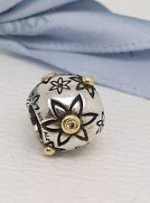 Authentic Pandora Silver & 14k Gold Diamond Starflower Charm 790399D Retired