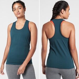NWT Athleta Momentum Tank LARGE Lagoon Teal XT2 Anti-Odor Breathable Fitted Top