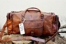 New Men's Brown Vintage Genuine Real Leather Goat Travel Luggage Duffle Gym Bags