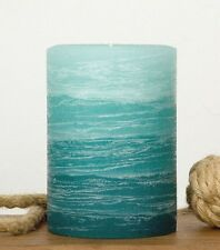 "Teal Pillar Candle 3x4"" - Rustic Layered Fade Style - Turquoise Candles"