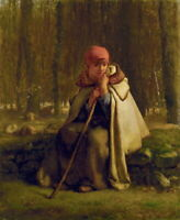 Jean Francois Millet Shepherdess Assisi Giclee Canvas Print Paintings Poster