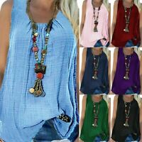 Plus Size Womens Sleeveless Loose Tank Tops Summer Casual Tunic Blouse T Shirts