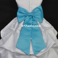 TURQUOISE BLUE TIE BOW SASH 4 WEDDING FLOWER GIRL DRESS SM M LG 2 4 6 8 10 12 14